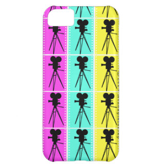 Retro Movie Camera Silhouettes Filmstrip iPhone Cover For iPhone 5C