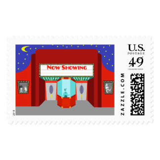 Retro Movie Theater Postage Stamps