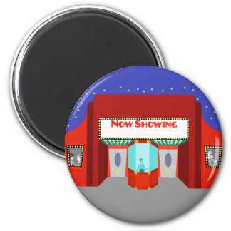 Retro Movie Theater Round Magnet