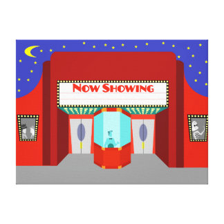 Retro Movie Theater Stretched Canvas Print