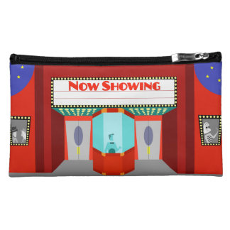 Retro Movie Theater Sueded Cosmetic Bag