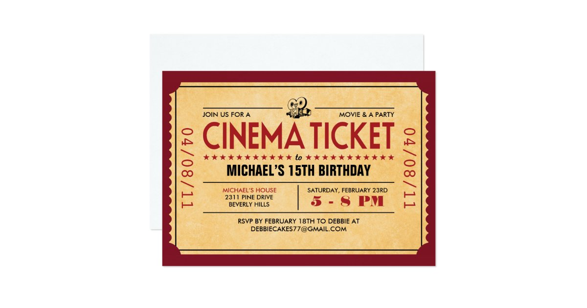 Movie Ticket Invitations and Announcements – Ticket Invitation Maker