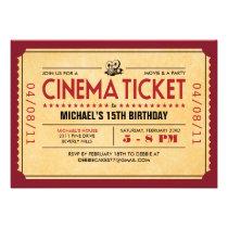Retro Movie Ticket Invitations