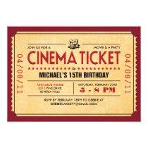 """Retro Movie Ticket Invitations 5"""" X 7"""" Invitation Card"""