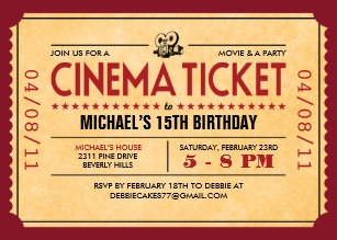 movie ticket invitations zazzle