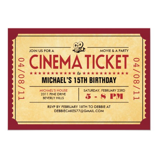 Retro Movie Ticket Invitations | Zazzle