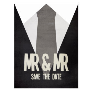 Retro Mr & Mr Suit Tie Gay Save the Date Postcard