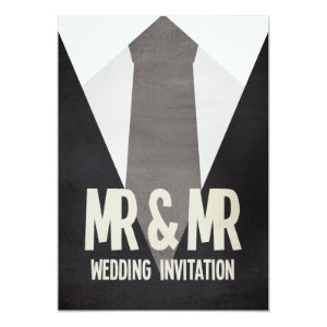 Retro Mr & Mr Suit & Tie Gay Wedding Invitation
