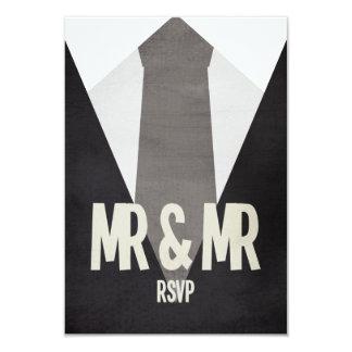 Retro Mr & Mr Suit & Tie Wedding RSVP Card
