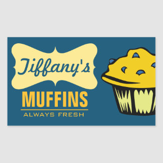 Retro Muffin Shop | Blueberry Muffins Rectangular Sticker