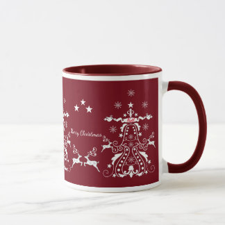 Retro mug with damask Xmas trees and custom text