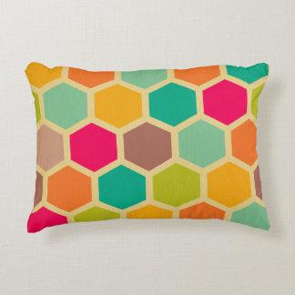 Retro multi color chevron zig zag vintage hexagon accent pillow