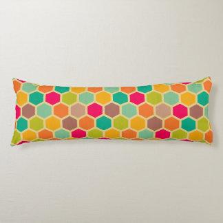 Retro multi color chevron zig zag vintage hexagon body pillow