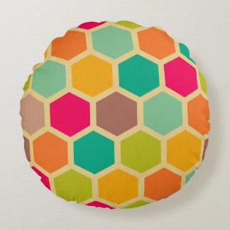 Retro multi color chevron zig zag vintage hexagon round pillow
