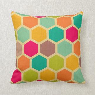 Retro multi color chevron zig zag vintage hexagon throw pillows