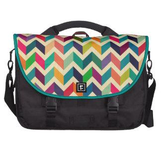 Retro multi color chevron zig zag  vintage trendy laptop commuter bag