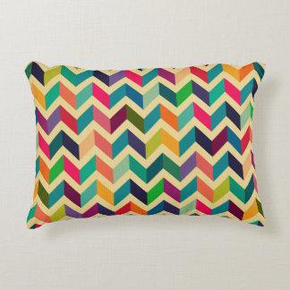Retro multi color chevron zig zag  vintage trendy accent pillow