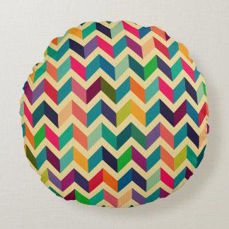 Retro multi color chevron zig zag  vintage trendy round pillow