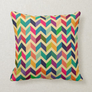 Retro multi color chevron zig zag  vintage trendy pillow