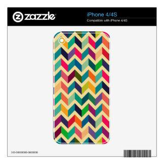 Retro multi color chevron zig zag  vintage trendy iPhone 4 skin