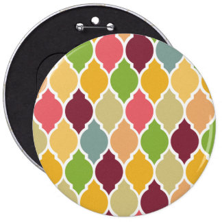 Retro Multi Color Quatrefoil Pattern Pinback Button