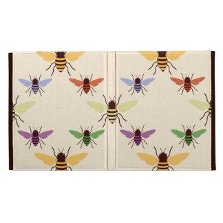 Retro multi color rainbow bees bumblebees pattern iPad case