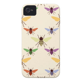 Retro multi color rainbow bees bumblebees pattern Case-Mate iPhone 4 case