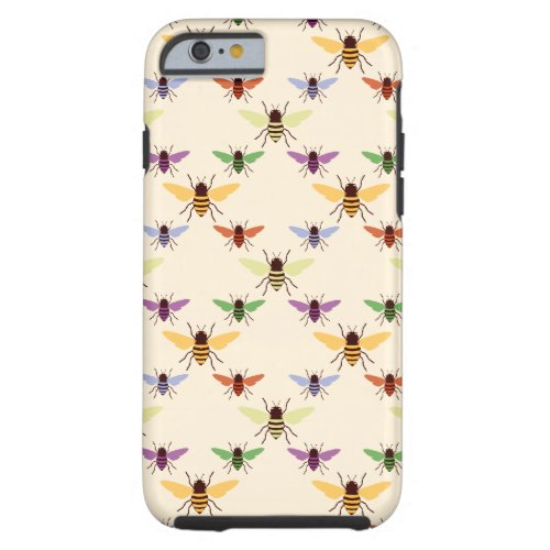 Retro multi color rainbow bees bumblebees pattern Phone Case