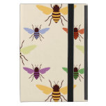 Retro multi color rainbow bees bumblebees pattern cases for iPad mini