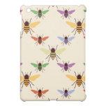 Retro multi color rainbow bees bumblebees pattern iPad mini covers