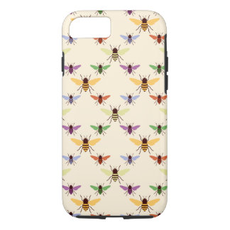 Retro multi color rainbow bees bumblebees pattern iPhone 7 case