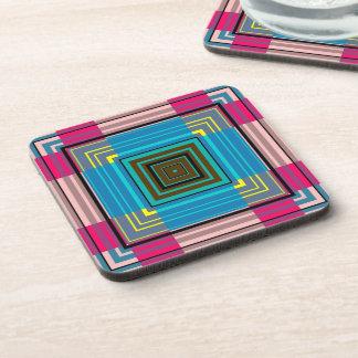 Retro Multi-Colored Striped Seamless Abstract Drink Coaster