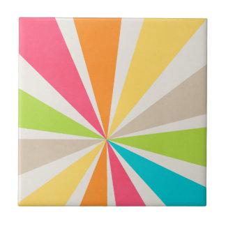 Retro Multi Colored Sunburst Small Square Tile