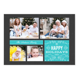 "Retro Multi Photo Happy Holidays Card 5"" X 7"" Invitation Card"