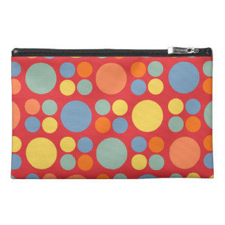 Retro Multicolor Dots on Poppy Red Travel Accessory Bags
