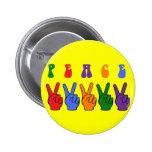 Retro Multicolor Peace Hand Pins