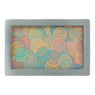 Retro MultiColored Abstract Circles Pattern Belt Buckle