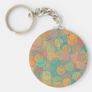Retro MultiColored Abstract Circles Pattern Keychain