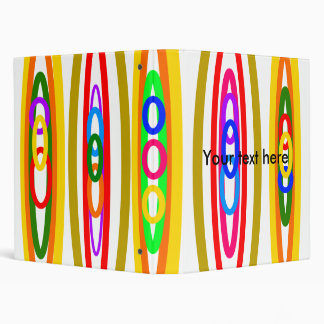 Retro multicolored circles 3 ring binder
