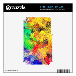 Retro Multicolored Circles Pattern iPod Touch 4G Decals
