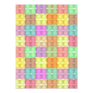 Retro Multicolored Square Pattern 5.5x7.5 Paper Invitation Card