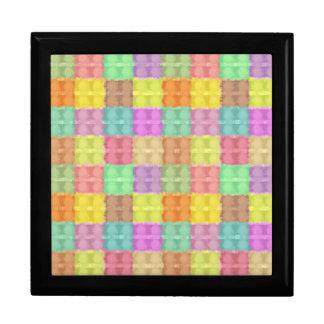 Retro Multicolored Square Pattern Trinket Boxes