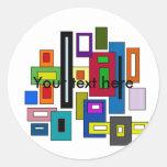 Retro multicolored squares and rectangles round stickers