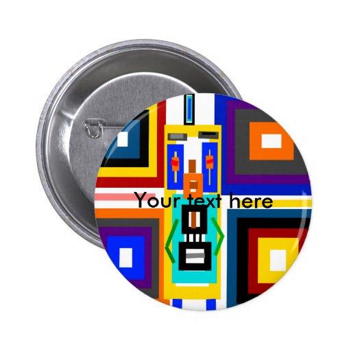 Retro multicolored squares robot man 2 inch round button