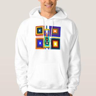 Retro multicolored squares robot man pullover
