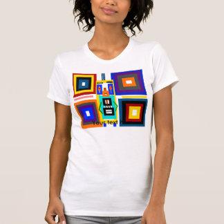 Retro multicolored squares robot man tee shirt