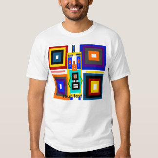 Retro multicolored squares robot man tshirt