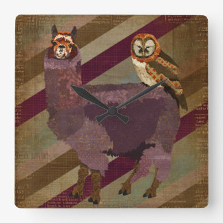 Retro Mums Owl & Purple Alpaca Wall Clock