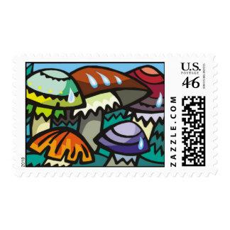 Retro Mushrooms Postage