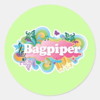 Retro Music Bagpiper Gift Classic Round Sticker